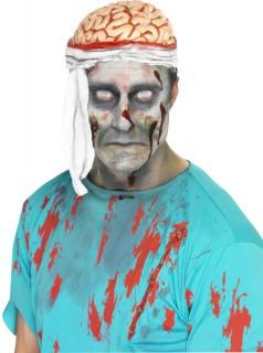 Zombie Gehirn Mütze Halloween Hut weiss-rot