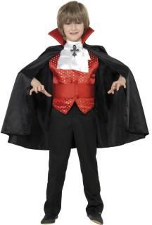 Dracula Vampir Halloween-Kinderkostüm schwarz-rot