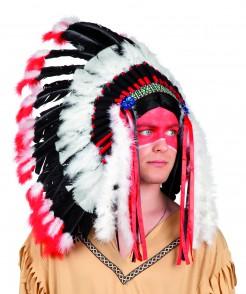 Indianer-Kopfschmuck Häuptlingsfedern schwarz-weiss-rot