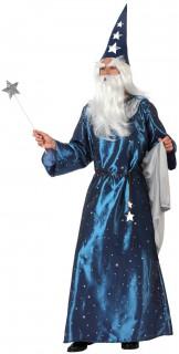 Mächtiger Zauberer Herrenkostüm Sternenmagier blau-silber