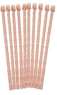 Cocktail Rührer Set Penis 10 Stück hautfarben