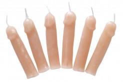 Freche Penis-Kerzen JGA-Artikel 6 Stück hautfarben
