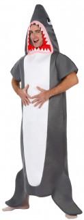 Gefährlicher Hai Jumpsuit-Kostüm Tierkostüm grau-weiss