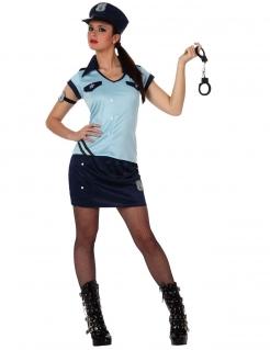 Sexy Polizistinnen-Kostüm für Damen hellblau-dunkelblau