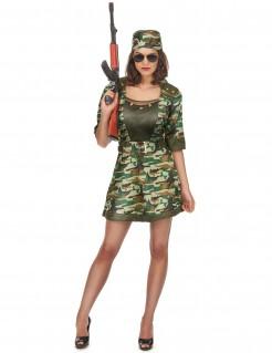 Sexy Soldatin Damenkostüm Majorin camouflage