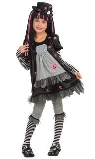 Gothic-Ragdoll Halloween-Kinderkostüm Puppe schwarz-grau