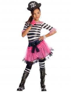 Gothic-Piratin Kinderkostüm weiss-schwarz-pink