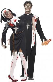 Zombie Paarkostüm Nonne und Priester Halloween schwarz