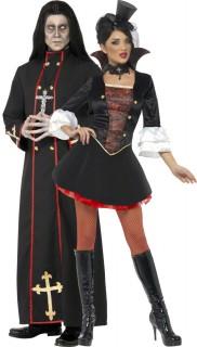 Vampir und Priester - Paarkostüm für Erwachsene, schwarz