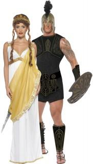 Achilles und die schöne Helena - Paarkostüm für Erwachsene, weiß-golden und schwarz