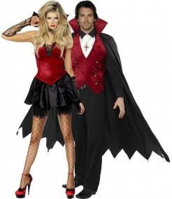 Vampir-Paar - Kostüm für Erwachsene, schwarz-rot