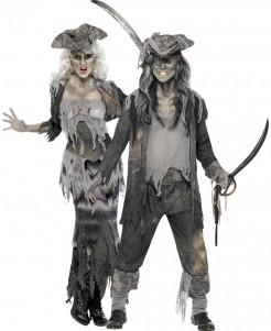 Geister-Piraten Halloween-Paarkostüm grau