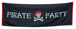 Piratenparty-Wanddeko Totenkopf-Banner schwarz-weiss-rot