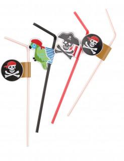 Piraten-Strohhalme Party-Deko 6 Stück schwarz-weiss-rot 24cm
