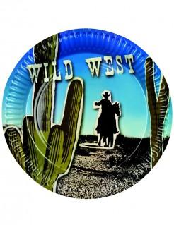 Wilder Westen Pappteller Party-Deko Cowboy 6 Stück bunt 23cm