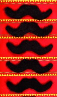 Selbstklebende Schnurrbärte Set 5 Stück schwarz