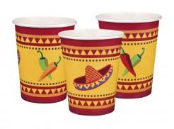 Mexiko Pappbecher Party-Deko Fiesta 6 Stück bunt 250ml