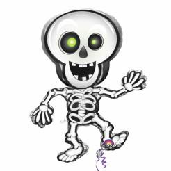 Süsser Folien-Luftballon Skelett Halloween Party-Deko weiss-schwarz 74x84cm