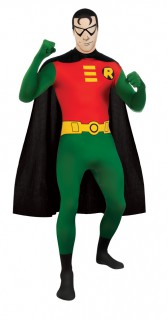 Robin-Ganzkörperanzug Robin-Lizenzkostüm grün-rot-schwarz