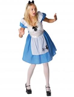 Alice im Wunderland Kostüm für Damen blau-weiss