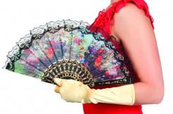 Blumen-Fächer Kostüm-Accessoire bunt 25cm