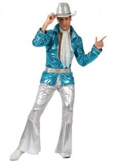 Glitzernder Disco-Pimp Kostüm für Herren blau-silber