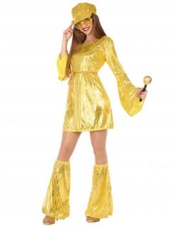 Funkelndes Discokostüm für Damen gold