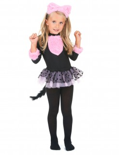 Kinder Katzenkostüm rosa-schwarz
