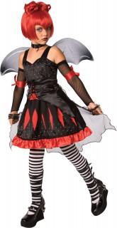 Fledermaus-Kinderkostüm Vampirin schwarz-rot