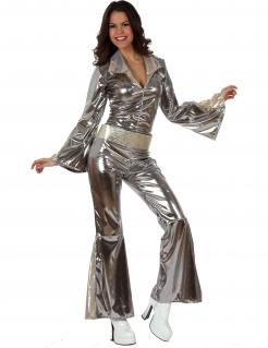 Sexy Disco-Jumpsuit Damenkostüm 70er Jahre-Kostüm für Damen Karneval silber