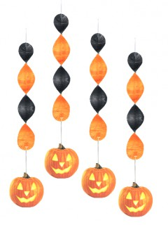 Kürbis-Hängedeko Halloweenparty-Dekoration 4 Stück orange 45cm