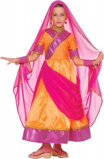 Bollywood Prinzessin Kinderkostüm orange-pink
