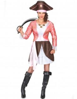Piraten-Damenkostüm Seeräuberin rosa-weiss-braun