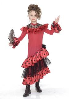Spanische Flamencotänzerin Kinder-Kostüm rot-schwarz