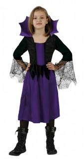 Spinnen-Hexe Halloween Kinderkostüm lila-schwarz