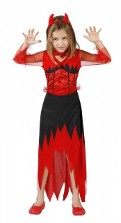 Teufelin Kinder-Kostüm Halloween rot-schwarz