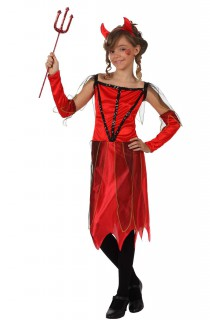 Halloween Teufelin Kinderkostüm rot-schwarz