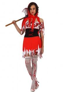 Blutverschmiertes Rotkäppchen Halloween-Damenkostüm rot-weiss-schwarz