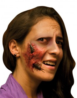 Wunde mit Kakerlake Halloween Makeup rot-braun