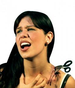 Schere im Hals Halloween-Wunde Latexapplikation silber-schwarz