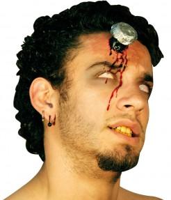 Blutige Schraube Halloween-Wunde grau-rot