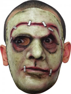 Halloween-Maske getackertes Monster grün-rot