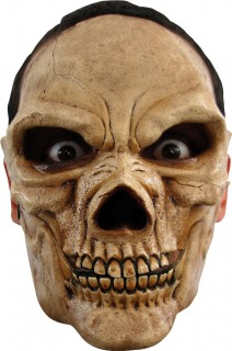 Böses Skelett Halloween-Maske Totenkopf beige