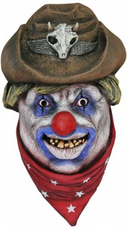 Cowboy-Monsterclown Maske Horrorclown-Latexmaske braun-rot-bunt