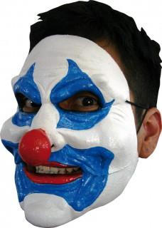 Grimmiger Clown-Halbmaske Horrorclown-Maske weiss-blau-rot