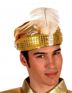 Orientalischer Turban mit Pailletten und Feder gold-weiss