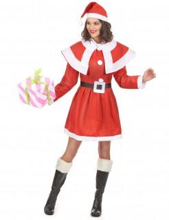 Weihnachtsfrau-Damenkostüm Nikolauskostüm für Damen rot-weiss-schwarz