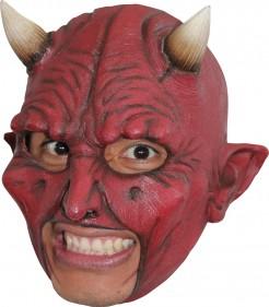 Teufel Maske mit Hörnern Halloween Kostümaccessoir rot-beige