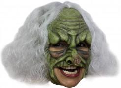 Gruseliger Hexer Maske weiss-grün