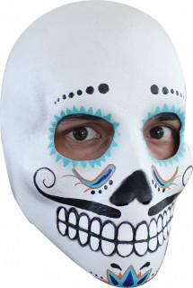 Totenkopf-Maske Dia de los Muertos für Herren weiss-bunt